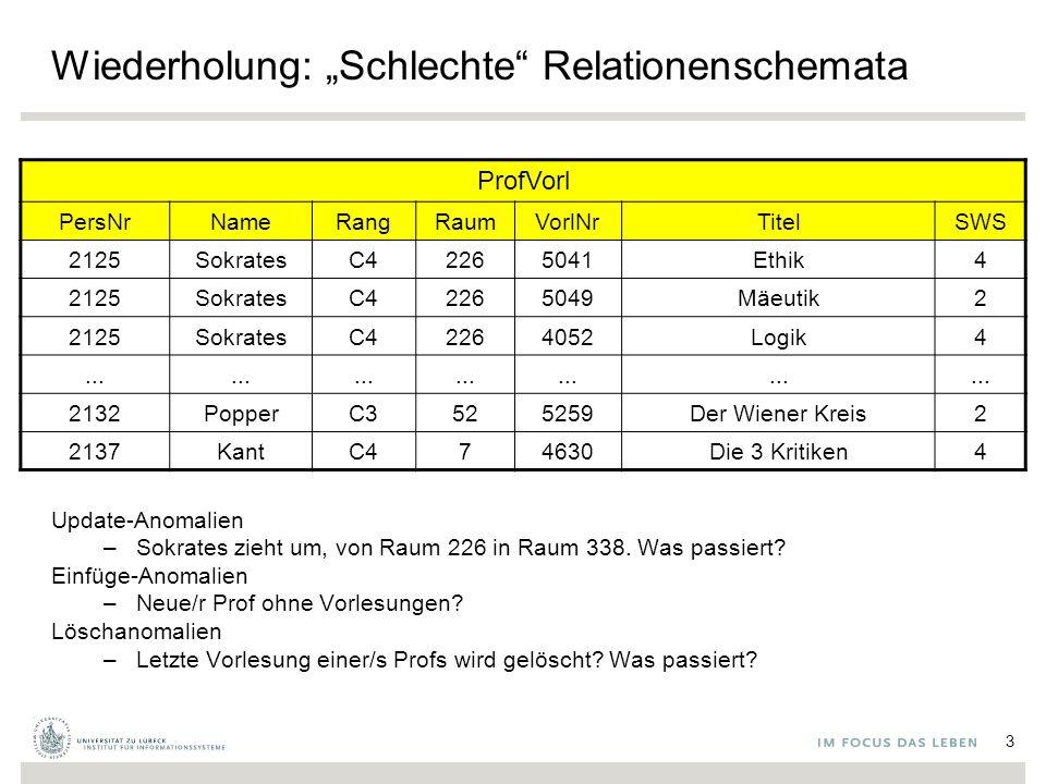 """Wiederholung: """"Schlechte Relationenschemata Update-Anomalien –Sokrates zieht um, von Raum 226 in Raum 338."""