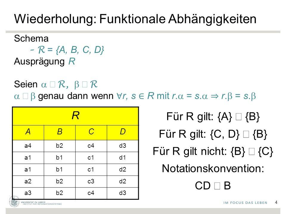 Wiederholung: Funktionale Abhängigkeiten Schema –R = {A, B, C, D} Ausprägung R Seien  ⊆  R,  ⊆  R  genau dann wenn ∀ r, s ∈ R mit r.
