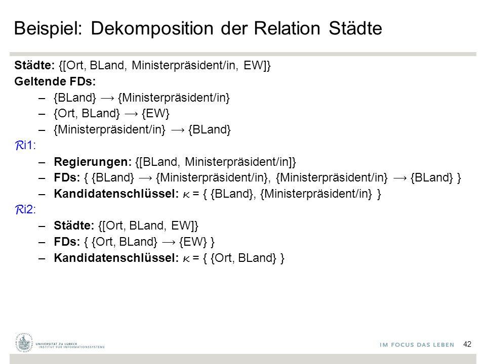 Beispiel: Dekomposition der Relation Städte Städte: {[Ort, BLand, Ministerpräsident/in, EW]} Geltende FDs: –{BLand} {Ministerpräsident/in} –{Ort, BLand} {EW} –{Ministerpräsident/in} {BLand} R i1: –Regierungen: {[BLand, Ministerpräsident/in]} –FDs: { {BLand} {Ministerpräsident/in}, {Ministerpräsident/in} {BLand} } –Kandidatenschlüssel:  = { {BLand}, {Ministerpräsident/in} } R i2: –Städte: {[Ort, BLand, EW]} –FDs: { {Ort, BLand} {EW} } –Kandidatenschlüssel:  = { {Ort, BLand} } 42