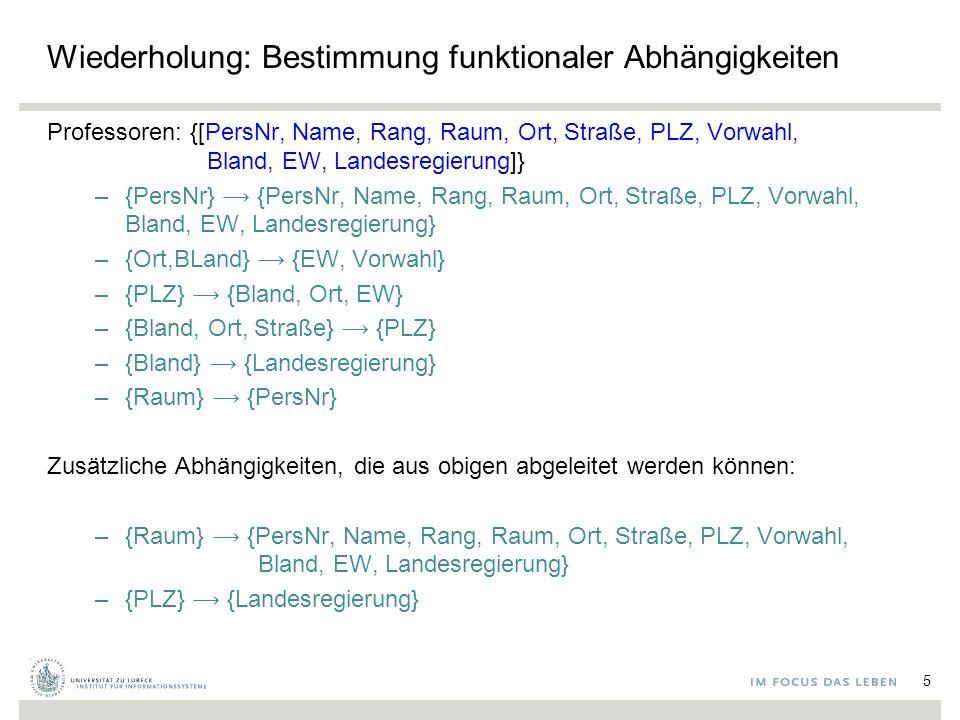 Wiederholung: Bestimmung funktionaler Abhängigkeiten Professoren: {[PersNr, Name, Rang, Raum, Ort, Straße, PLZ, Vorwahl, Bland, EW, Landesregierung]} –{PersNr} {PersNr, Name, Rang, Raum, Ort, Straße, PLZ, Vorwahl, Bland, EW, Landesregierung} –{Ort,BLand} {EW, Vorwahl} –{PLZ} {Bland, Ort, EW} –{Bland, Ort, Straße} {PLZ} –{Bland} {Landesregierung} –{Raum} {PersNr} Zusätzliche Abhängigkeiten, die aus obigen abgeleitet werden können: –{Raum} {PersNr, Name, Rang, Raum, Ort, Straße, PLZ, Vorwahl, Bland, EW, Landesregierung} –{PLZ} {Landesregierung} 5
