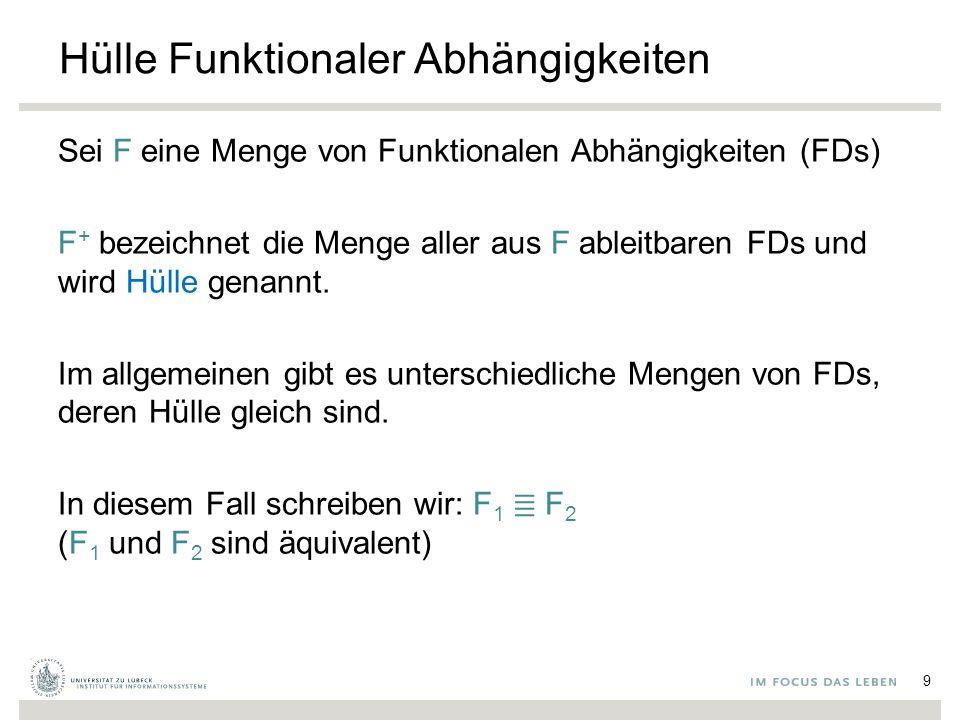 Hülle Funktionaler Abhängigkeiten Sei F eine Menge von Funktionalen Abhängigkeiten (FDs) F + bezeichnet die Menge aller aus F ableitbaren FDs und wird Hülle genannt.