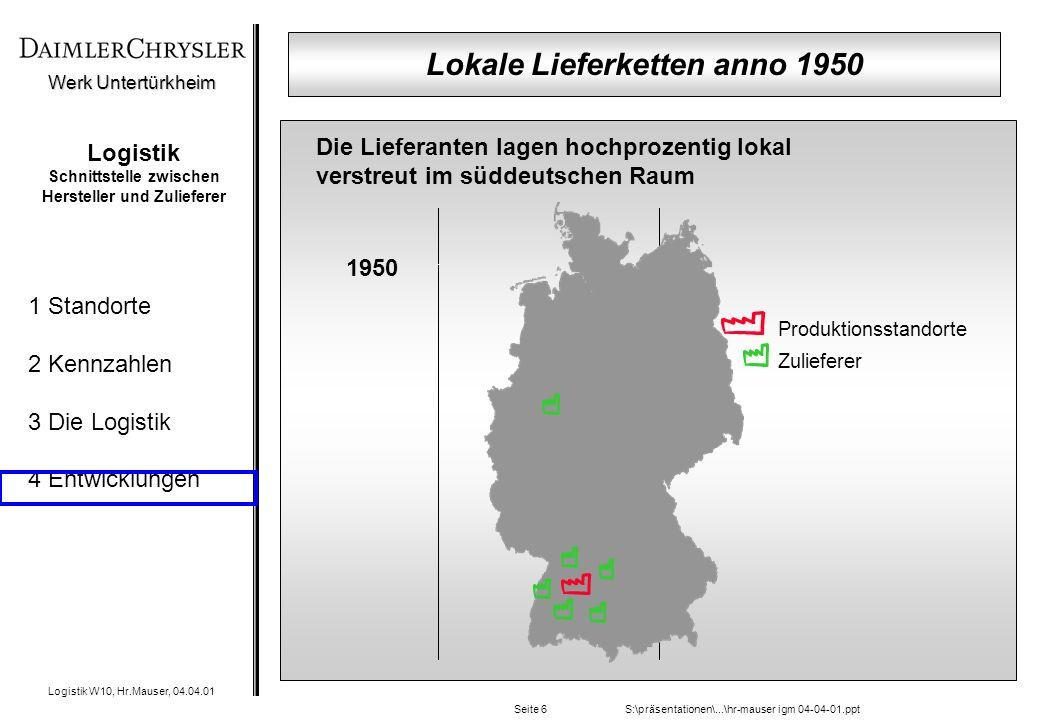 Werk Untertürkheim Logistik W10, Hr.Mauser, 04.04.01 1 Standorte 2 Kennzahlen 3 Die Logistik 4 Entwicklungen S:\präsentationen\...\hr-mauser igm 04-04-01.pptSeite 6 Logistik Schnittstelle zwischen Hersteller und Zulieferer Produktionsstandorte Zulieferer Die Lieferanten lagen hochprozentig lokal verstreut im süddeutschen Raum 1950 Lokale Lieferketten anno 1950