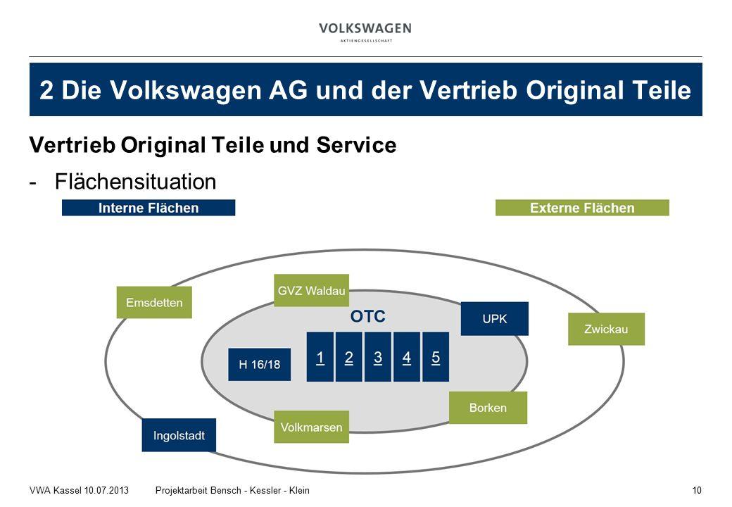 Vertrieb Original Teile und Service -Flächensituation 10Projektarbeit Bensch - Kessler - KleinVWA Kassel 10.07.2013 2 Die Volkswagen AG und der Vertrieb Original Teile