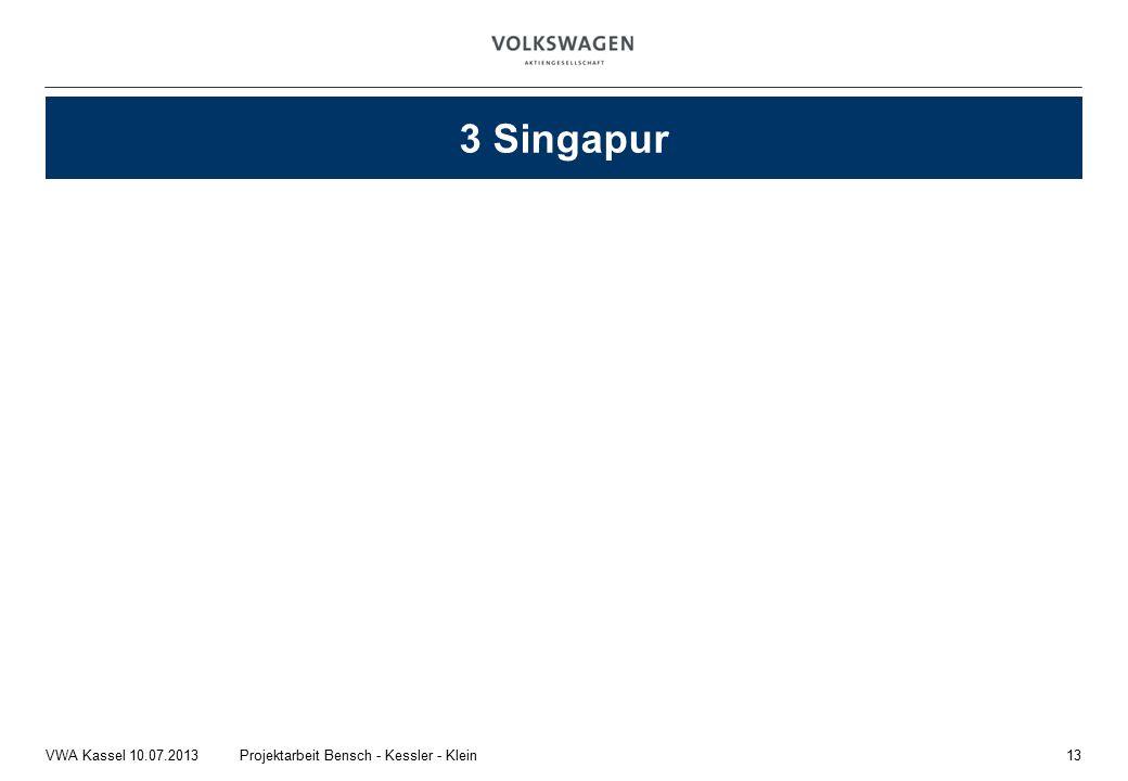 13Projektarbeit Bensch - Kessler - KleinVWA Kassel 10.07.2013 3 Singapur