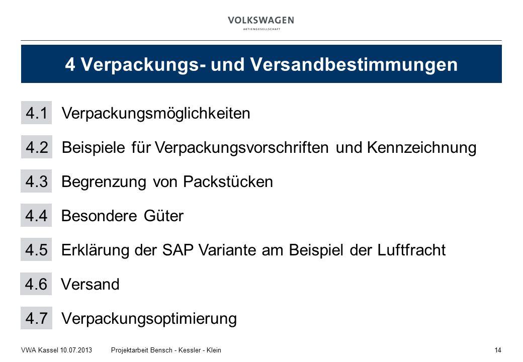 14Projektarbeit Bensch - Kessler - KleinVWA Kassel 10.07.2013 4 Verpackungs- und Versandbestimmungen 4.1Verpackungsmöglichkeiten 4.2 Beispiele für Verpackungsvorschriften und Kennzeichnung 4.3 Begrenzung von Packstücken 4.4 Besondere Güter 4.6 Versand 4.5 Erklärung der SAP Variante am Beispiel der Luftfracht 4.7 Verpackungsoptimierung