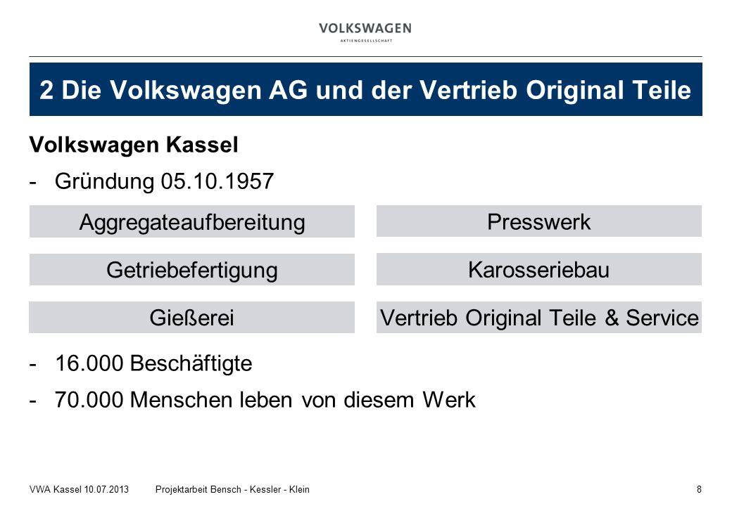 Volkswagen Kassel -Gründung 05.10.1957 -16.000 Beschäftigte -70.000 Menschen leben von diesem Werk 8Projektarbeit Bensch - Kessler - KleinVWA Kassel 10.07.2013 2 Die Volkswagen AG und der Vertrieb Original Teile Aggregateaufbereitung Gießerei Karosseriebau Getriebefertigung Presswerk Vertrieb Original Teile & Service