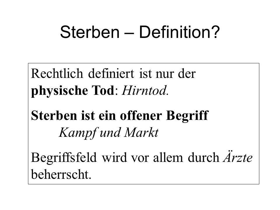Sterben – Definition. Rechtlich definiert ist nur der physische Tod: Hirntod.