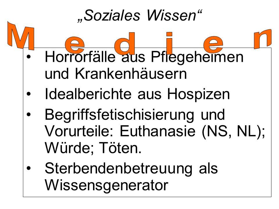 """""""Soziales Wissen Horrorfälle aus Pflegeheimen und Krankenhäusern Idealberichte aus Hospizen Begriffsfetischisierung und Vorurteile: Euthanasie (NS, NL); Würde; Töten."""