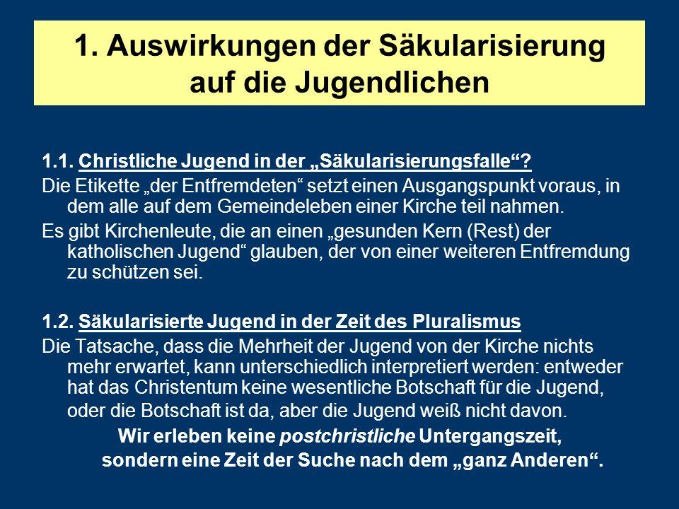1.Auswirkungen der Säkularisierung auf die Jugendlichen 1.1.