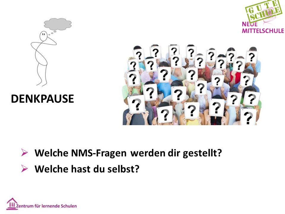  Welche NMS-Fragen werden dir gestellt?  Welche hast du selbst? DENKPAUSE