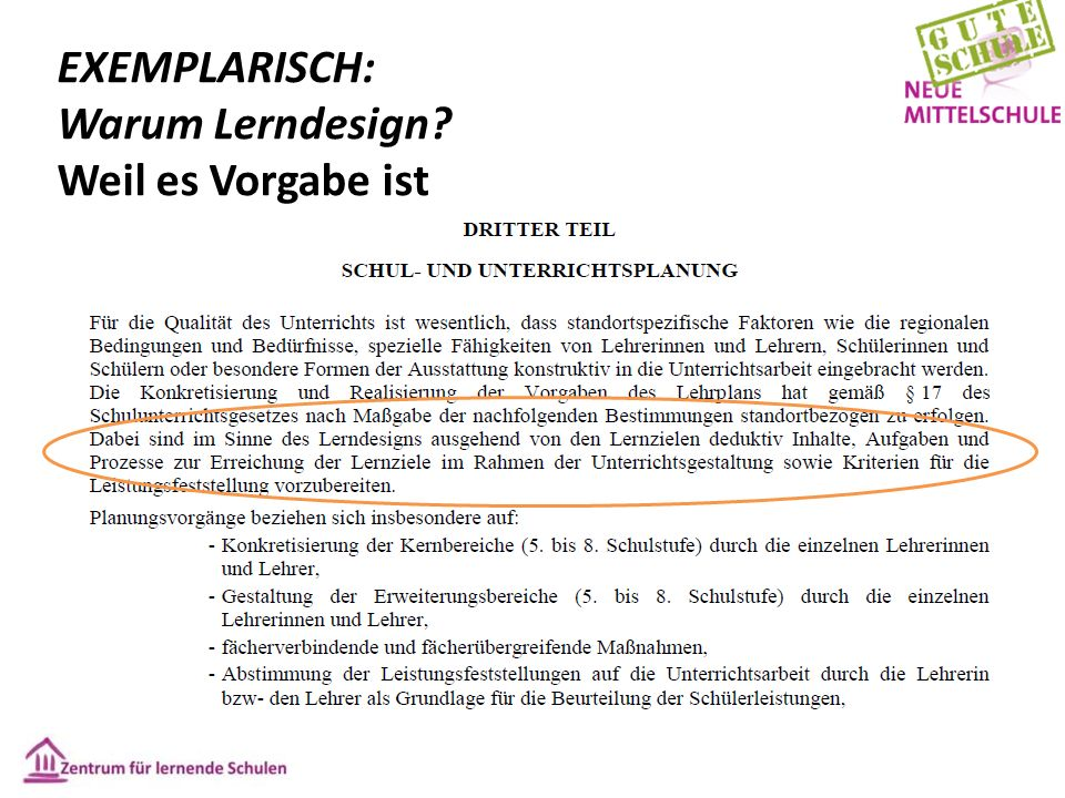 EXEMPLARISCH: Warum Lerndesign? Weil es Vorgabe ist Aus der NMS-LPVO (S. 12)