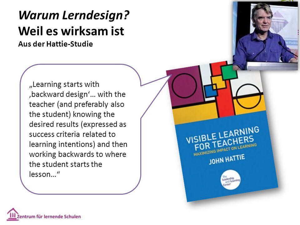 """Warum Lerndesign? Weil es wirksam ist Aus der Hattie-Studie """"Learning starts with 'backward design'… with the teacher (and preferably also the student"""