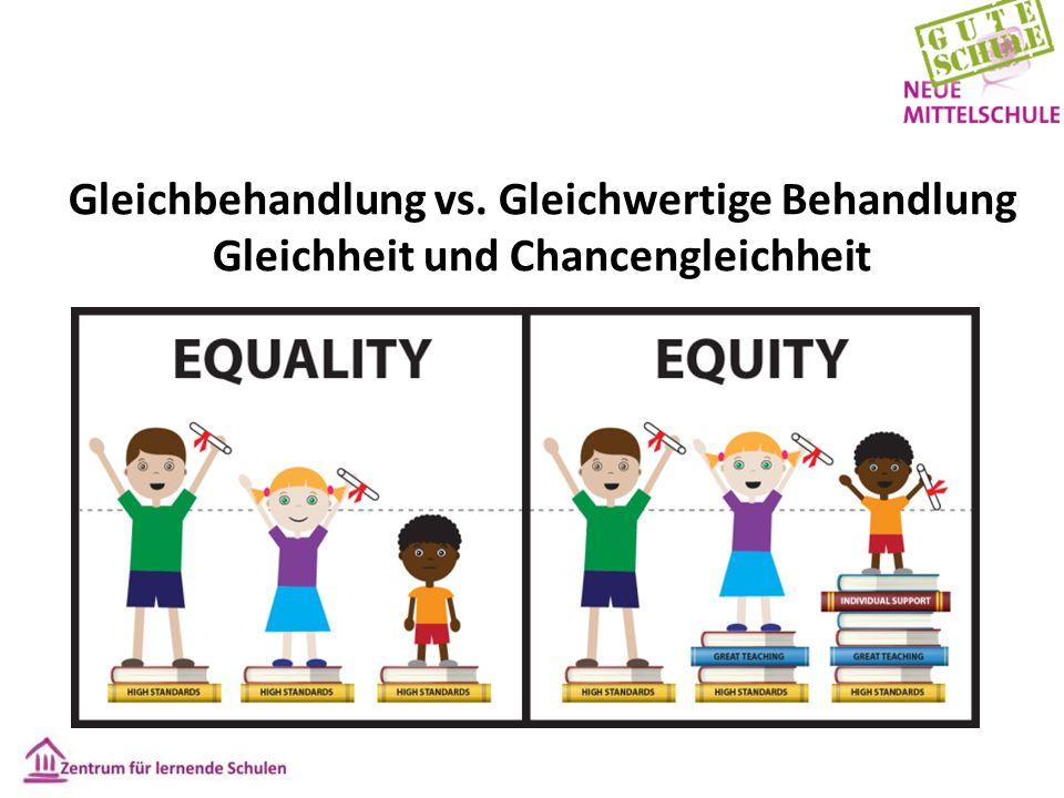 Gleichbehandlung vs. Gleichwertige Behandlung Gleichheit und Chancengleichheit