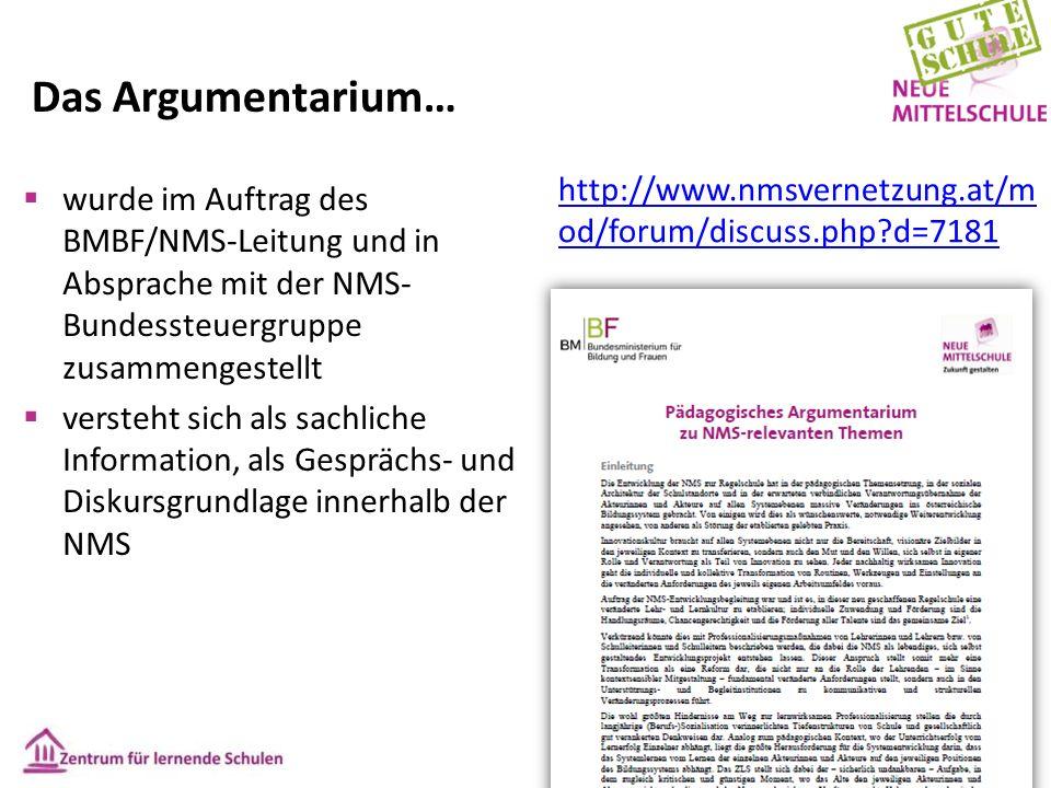 Das Argumentarium… http://www.nmsvernetzung.at/m od/forum/discuss.php?d=7181  wurde im Auftrag des BMBF/NMS-Leitung und in Absprache mit der NMS- Bun