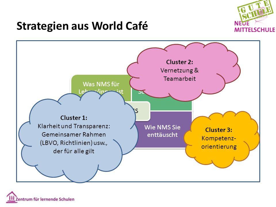 Strategien aus World Café Was NMS für Lehrer/innen ist Was NMS für Schüler/innen ist Wie NMS Ihre Erwartungen erfüllt Wie NMS Sie enttäuscht NMS Clust