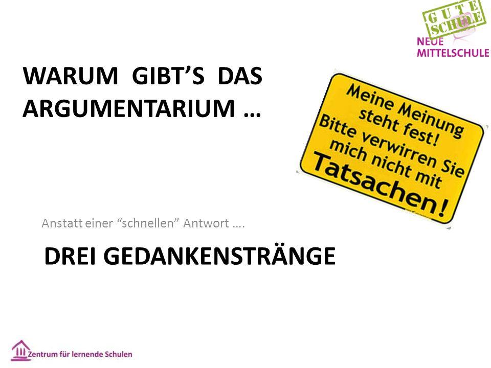"""DREI GEDANKENSTRÄNGE Anstatt einer """"schnellen"""" Antwort …. WARUM GIBT'S DAS ARGUMENTARIUM …"""