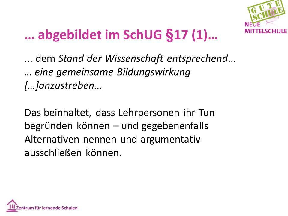 … abgebildet im SchUG §17 (1)…... dem Stand der Wissenschaft entsprechend... … eine gemeinsame Bildungswirkung […]anzustreben... Das beinhaltet, dass