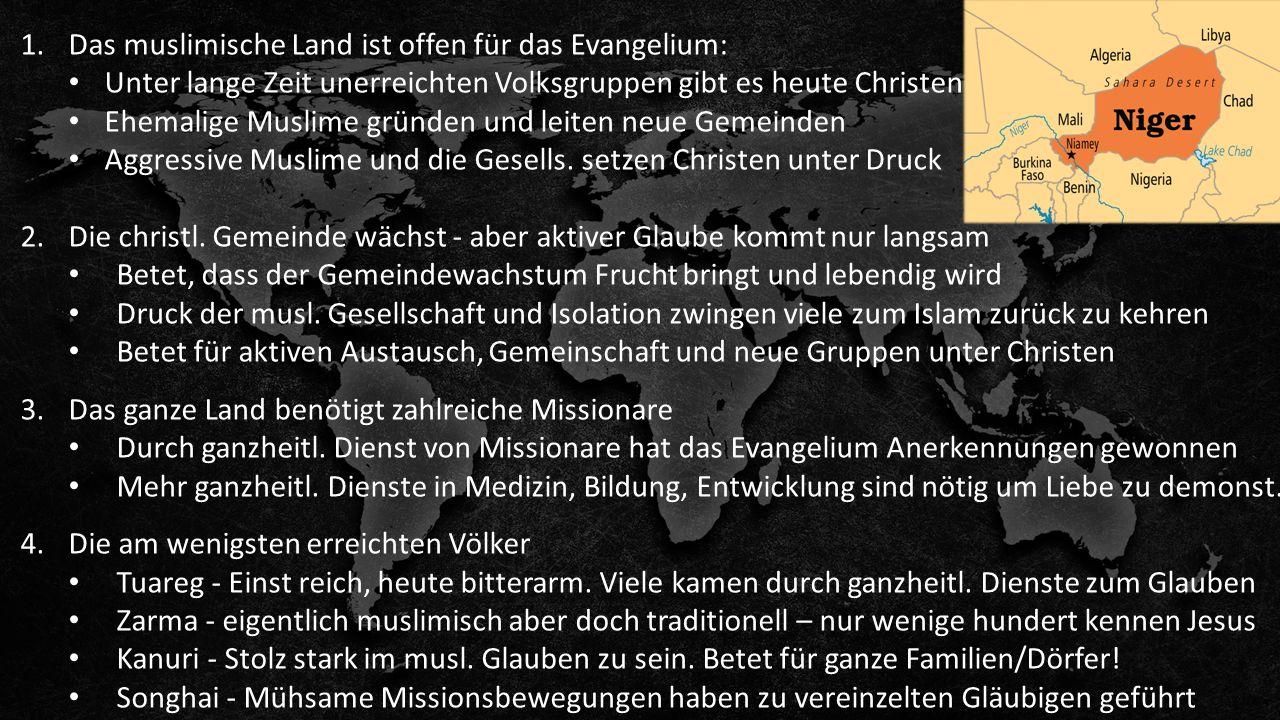 1.Das muslimische Land ist offen für das Evangelium: Unter lange Zeit unerreichten Volksgruppen gibt es heute Christen Ehemalige Muslime gründen und leiten neue Gemeinden Aggressive Muslime und die Gesells.