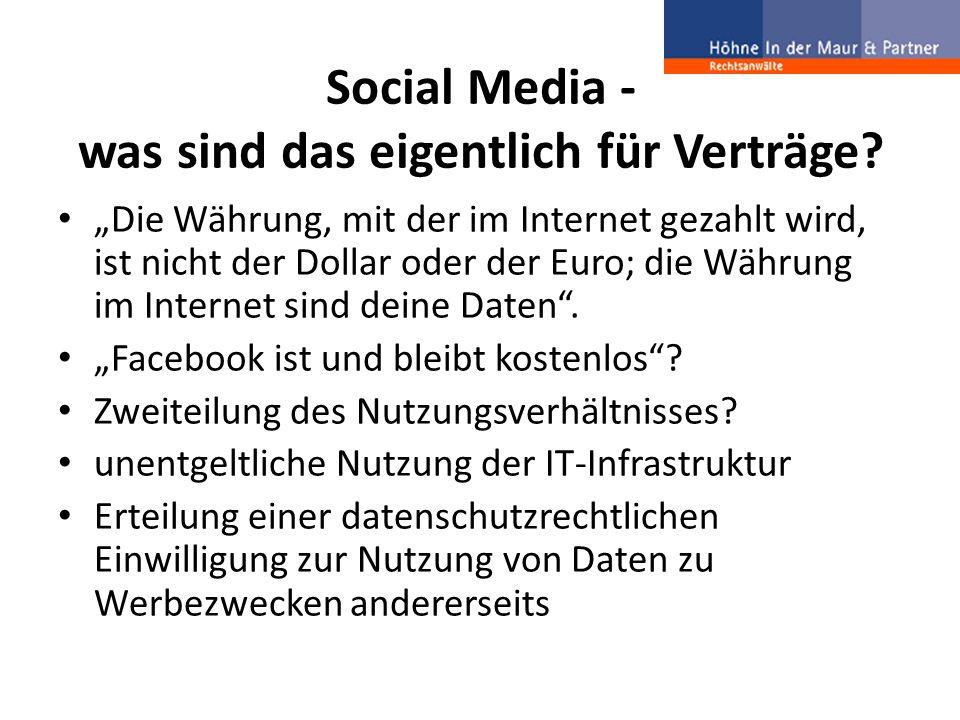 """Social Media - was sind das eigentlich für Verträge? """"Die Währung, mit der im Internet gezahlt wird, ist nicht der Dollar oder der Euro; die Währung i"""