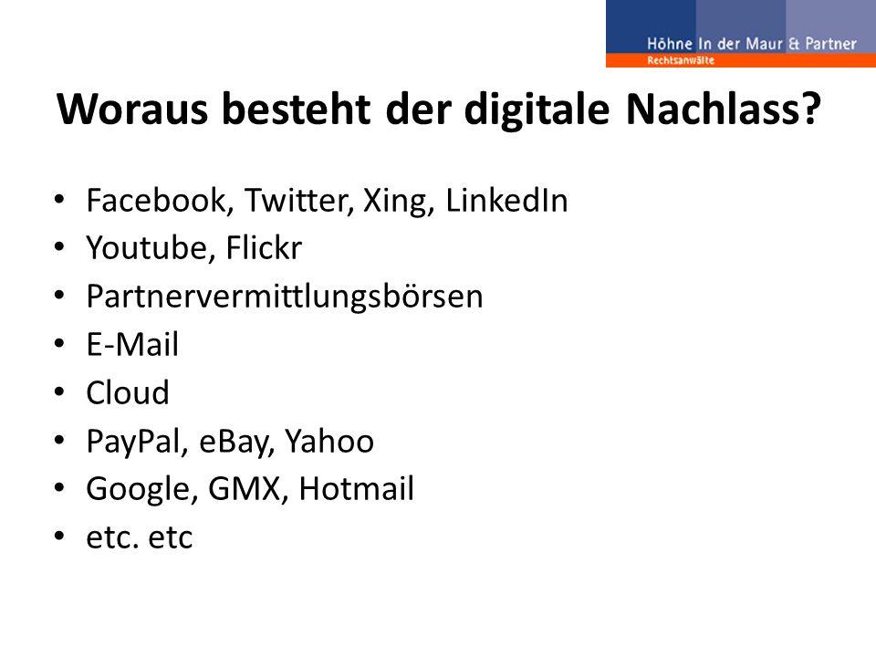 Problemfelder Einträge in Sozialen Netzwerken Vermögensrechtliche Informationen Persönliche Nachrichten Informationen von Partnervermittlungsbörsen Nacktbilder