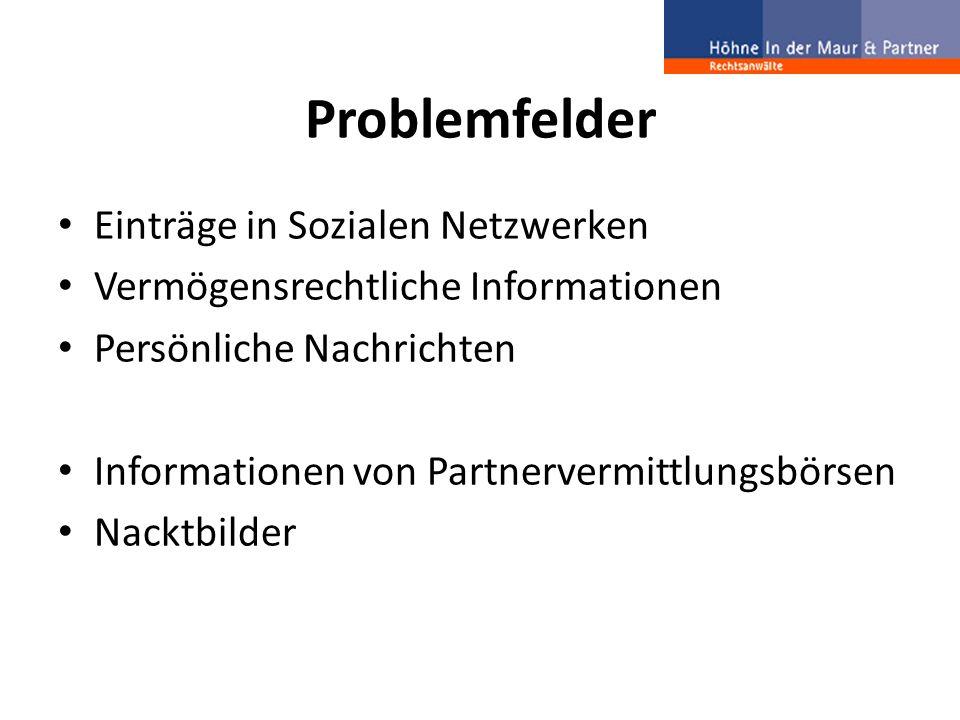 Problemfelder Einträge in Sozialen Netzwerken Vermögensrechtliche Informationen Persönliche Nachrichten Informationen von Partnervermittlungsbörsen Na