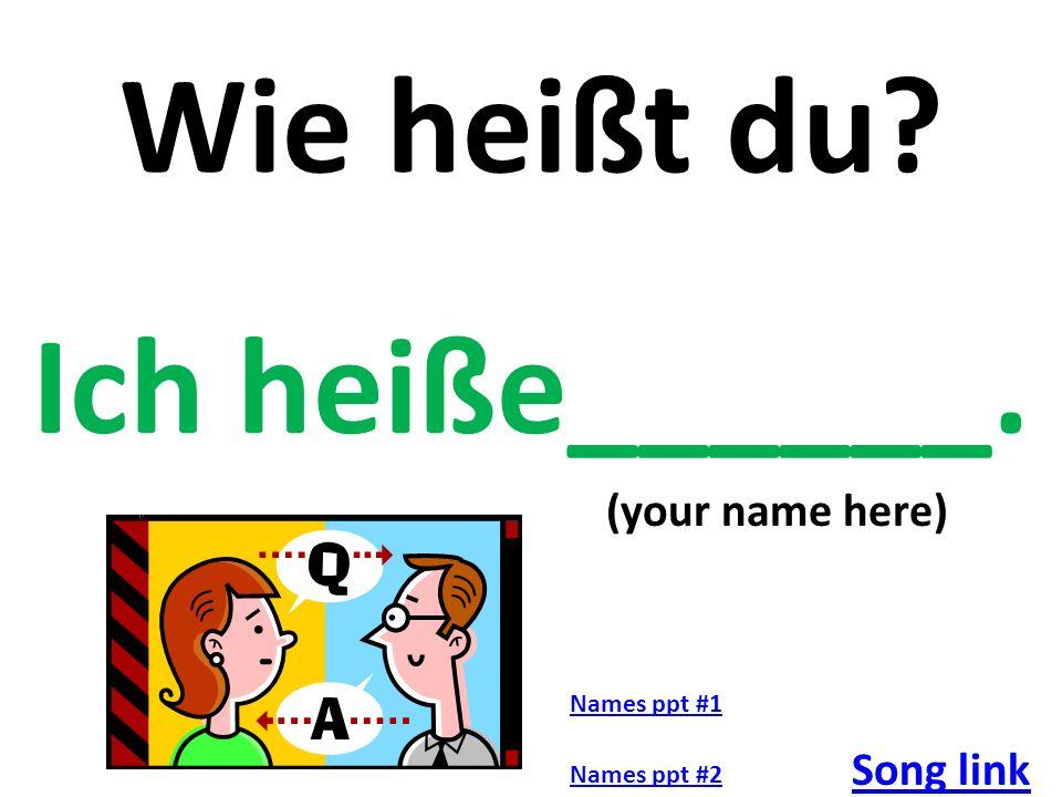 Entschuldigung, Wie heisst du? Mein Name ist___________________. Video Link