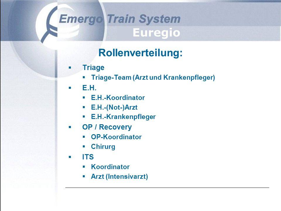 Rollenverteilung:  Triage  Triage-Team (Arzt und Krankenpfleger)  E.H.