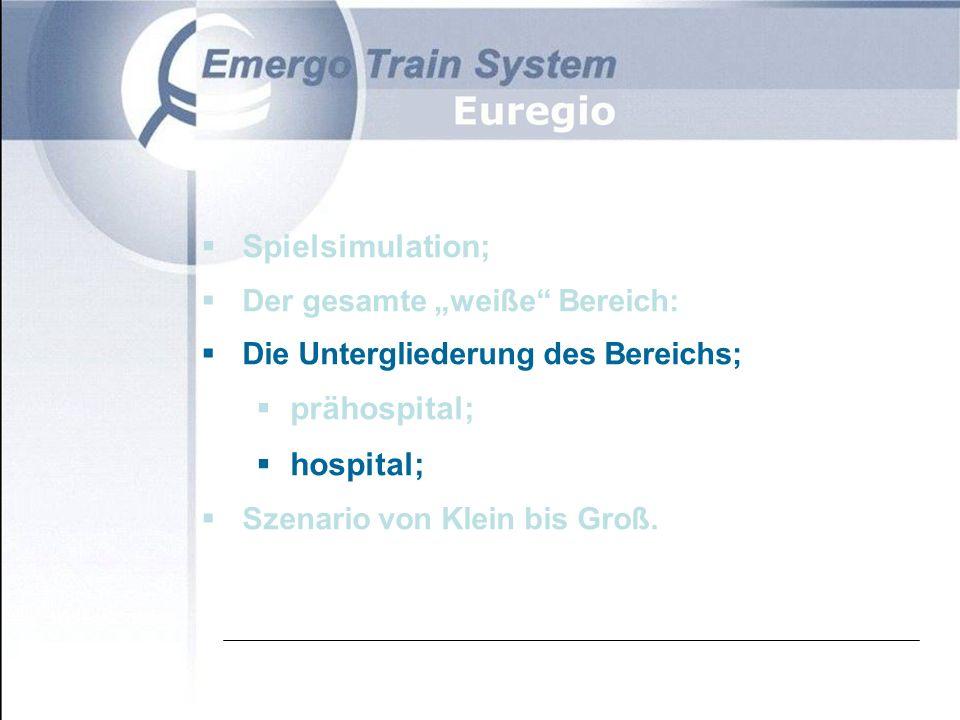 Mögliche Hospital-Akteure Je nach teilnehmenden Abteilungen:  Triage-Arzt  Der Notarzt  Der diensthabende Chirurg  Leiter E.H.