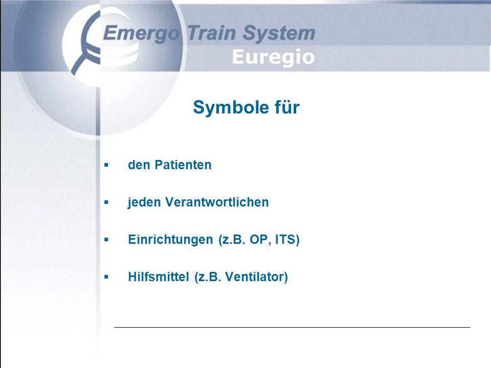 Symbole für  den Patienten  jeden Verantwortlichen  Einrichtungen (z.B.