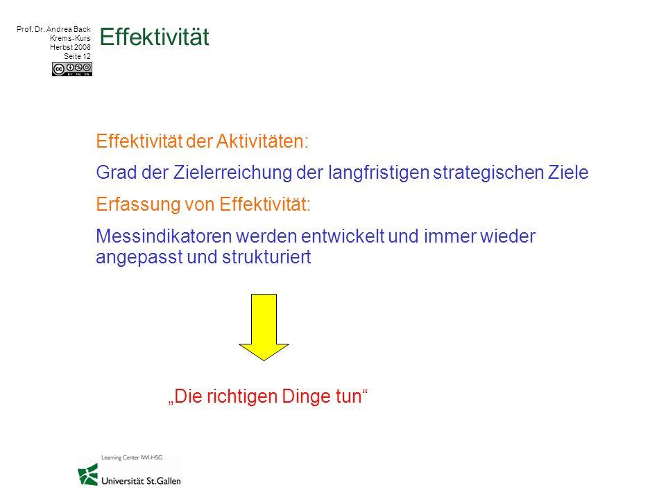Prof. Dr. Andrea Back Krems-Kurs Herbst 2008 Seite 12 Effektivität Effektivität der Aktivitäten: Grad der Zielerreichung der langfristigen strategisch