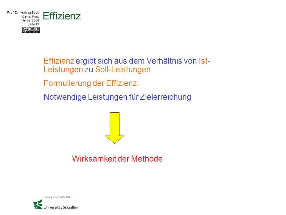 Prof. Dr. Andrea Back Krems-Kurs Herbst 2008 Seite 13 Effizienz Effizienz ergibt sich aus dem Verhältnis von Ist- Leistungen zu Soll-Leistungen Formul