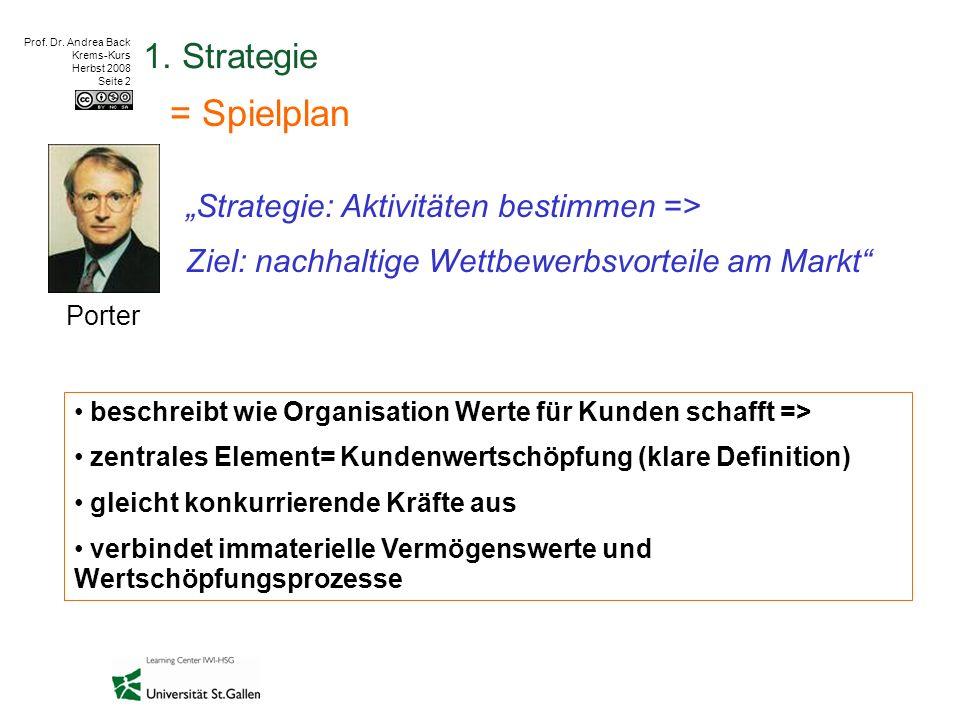 """Prof. Dr. Andrea Back Krems-Kurs Herbst 2008 Seite 2 1. Strategie = Spielplan """"Strategie: Aktivitäten bestimmen => Ziel: nachhaltige Wettbewerbsvortei"""