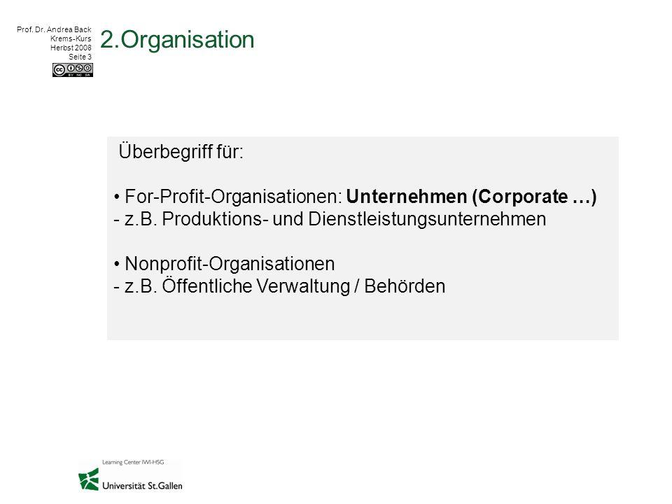 Prof. Dr. Andrea Back Krems-Kurs Herbst 2008 Seite 3 2.Organisation Überbegriff für: For-Profit-Organisationen: Unternehmen (Corporate …) - z.B. Produ