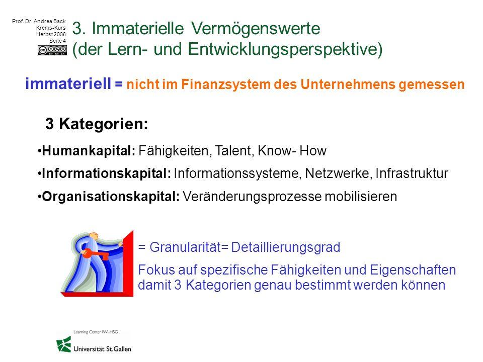 Prof. Dr. Andrea Back Krems-Kurs Herbst 2008 Seite 4 3. Immaterielle Vermögenswerte (der Lern- und Entwicklungsperspektive) immateriell = nicht im Fi