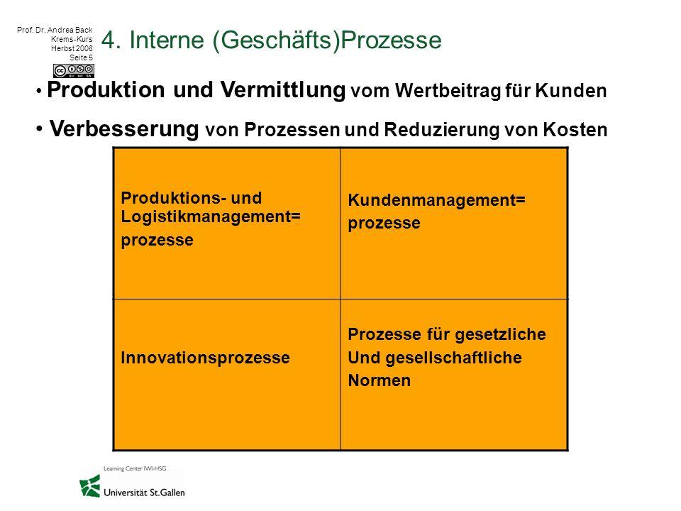 Prof. Dr. Andrea Back Krems-Kurs Herbst 2008 Seite 5 4. Interne (Geschäfts)Prozesse Produktion und Vermittlung vom Wertbeitrag für Kunden Verbesserung