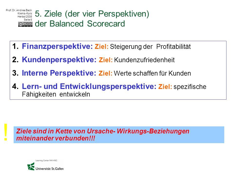 Prof. Dr. Andrea Back Krems-Kurs Herbst 2008 Seite 6 5. Ziele (der vier Perspektiven) der Balanced Scorecard 1.Finanzperspektive: Ziel: Steigerung der