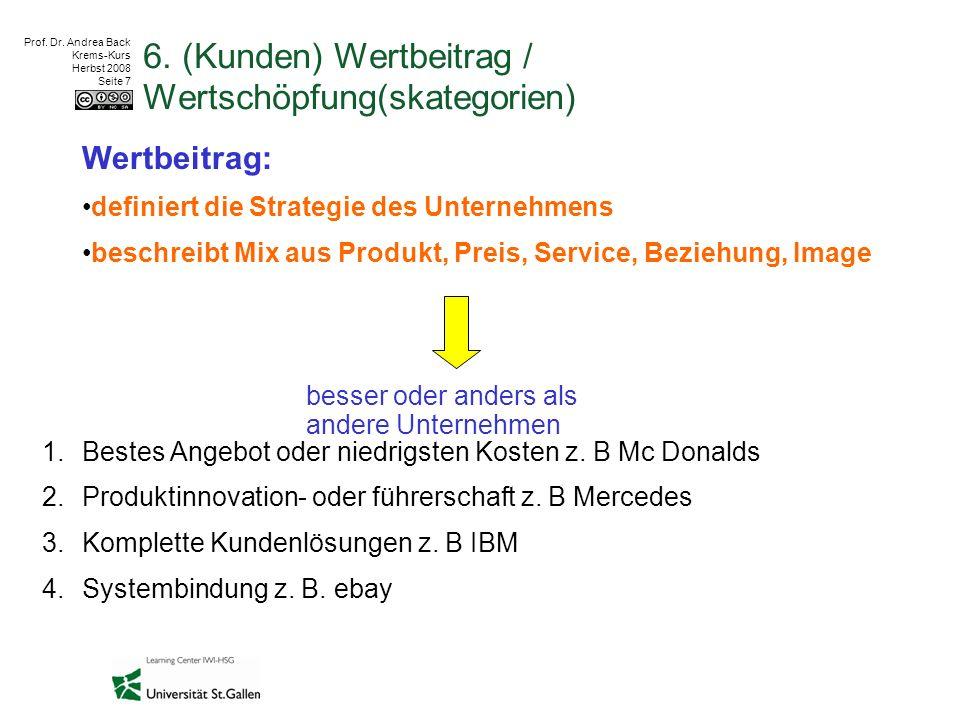 Prof. Dr. Andrea Back Krems-Kurs Herbst 2008 Seite 7 6. (Kunden) Wertbeitrag / Wertschöpfung(skategorien) Wertbeitrag: definiert die Strategie des Un