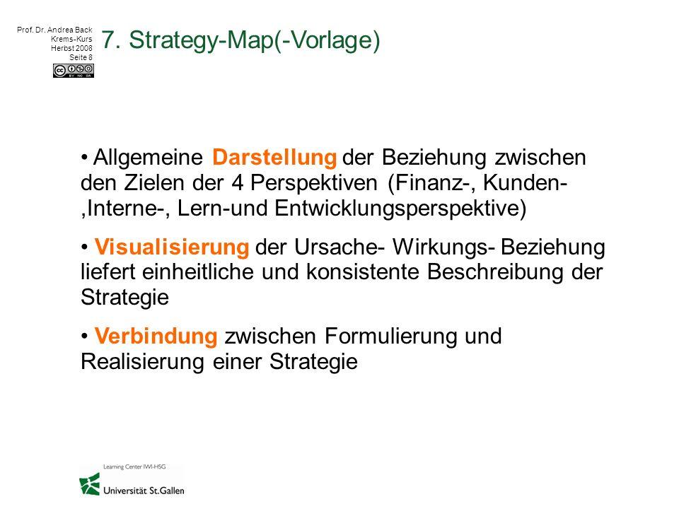 Prof. Dr. Andrea Back Krems-Kurs Herbst 2008 Seite 8 7. Strategy-Map(-Vorlage) Allgemeine Darstellung der Beziehung zwischen den Zielen der 4 Perspek
