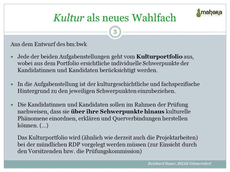 Quellenangaben Text http://www.siec.at/fileadmin/medien/vienna2007/deutschseminar/Schulwesen_Deutsch_Kultur.pdf Bilder http://hak.cc/kommentar_link_schreiben.php?link_id=126&PHPSESSID=b0c26d4eb332065e9608a08cbdc6be8a http://www.kultur-channel.at/category/vermischtes/fotos/page/2/ http://www.lisa-design.com/portfolio.html http://journals.worldnomads.com/lani/gallery/3114/79827.aspx http://www.strict.at/blog/index.php?blog&month=02-07 http://www.wirheiraten.ch/juliaundjuergen/content-r13319.html http://dailywallpaper.de/gallery/wallpaper/comics-toons/garfield/ http://www.wien.gv.at/forschung/aktuell/musicwormsneu.html http://www.vdv-software.de/dienstleistung/epresentation.html Mahara-Screenshots KulturPortfolio von Reinhard Bauer 14 Reinhard Bauer, BHAK Gänserndorf