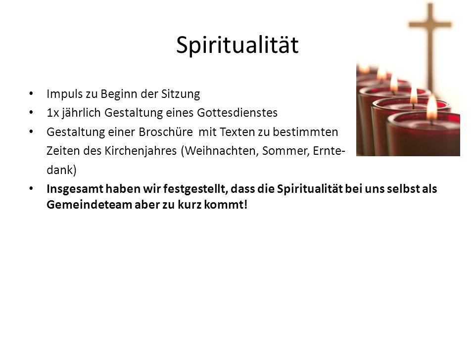 Spiritualität Impuls zu Beginn der Sitzung 1x jährlich Gestaltung eines Gottesdienstes Gestaltung einer Broschüre mit Texten zu bestimmten Zeiten des
