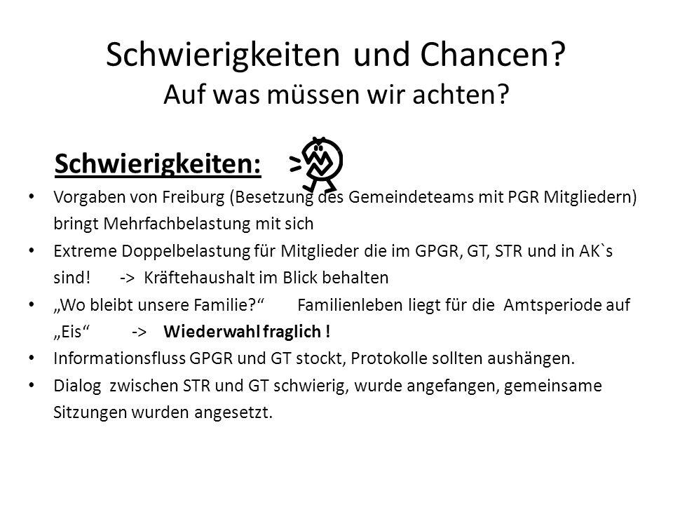 Schwierigkeiten und Chancen? Auf was müssen wir achten? Schwierigkeiten: Vorgaben von Freiburg (Besetzung des Gemeindeteams mit PGR Mitgliedern) bring