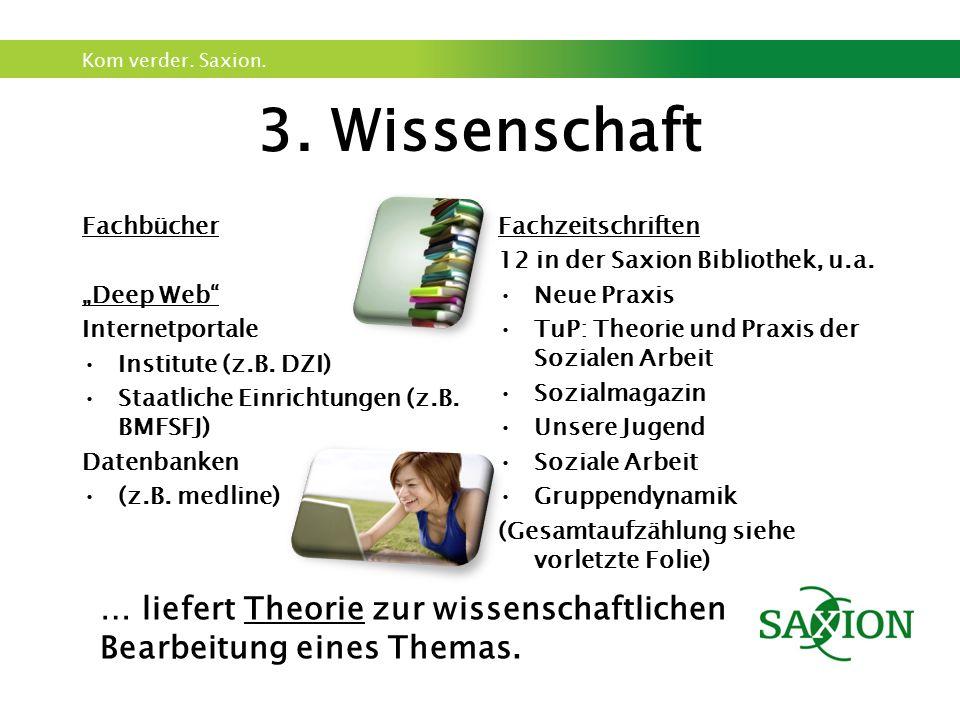 """Kom verder. Saxion. 3. Wissenschaft Fachbücher """"Deep Web"""" Internetportale Institute (z.B. DZI) Staatliche Einrichtungen (z.B. BMFSFJ) Datenbanken (z.B"""