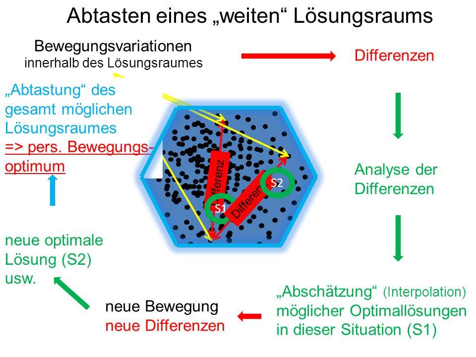 """Abtasten eines """"weiten Lösungsraums Bewegungsvariationen innerhalb des Lösungsraumes Differenz Differenzen Analyse der Differenzen """"Abschätzung (Interpolation) möglicher Optimallösungen in dieser Situation (S1) S1 Differenz neue Bewegung neue Differenzen S2 neue optimale Lösung (S2) usw."""