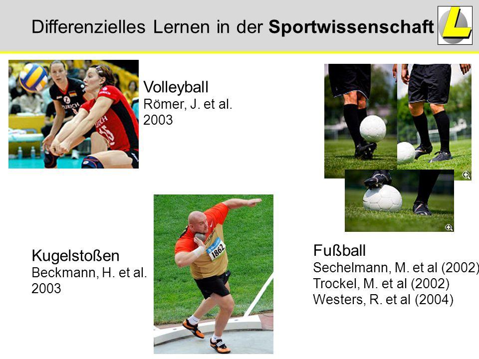 Differenzielles Lernen in der Sportwissenschaft Volleyball Römer, J. et al. 2003 Fußball Sechelmann, M. et al (2002) Trockel, M. et al (2002) Westers,