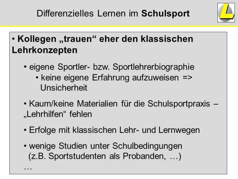 """Differenzielles Lernen im Schulsport Kollegen """"trauen"""" eher den klassischen Lehrkonzepten eigene Sportler- bzw. Sportlehrerbiographie keine eigene Erf"""