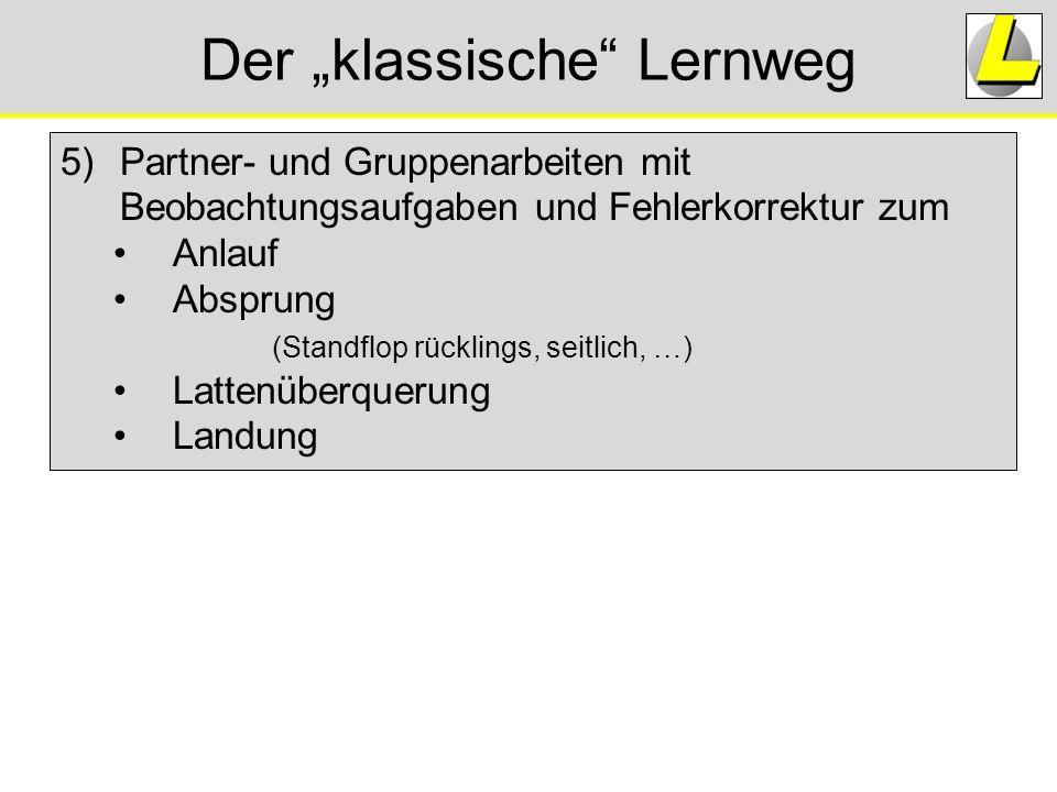 """Der """"klassische"""" Lernweg 5)Partner- und Gruppenarbeiten mit Beobachtungsaufgaben und Fehlerkorrektur zum Anlauf Absprung (Standflop rücklings, seitlic"""