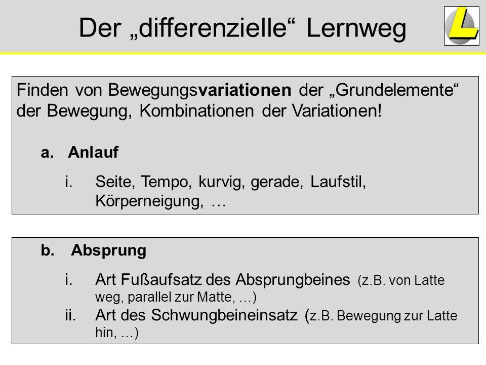 """Der """"differenzielle"""" Lernweg b.Absprung i.Art Fußaufsatz des Absprungbeines (z.B. von Latte weg, parallel zur Matte, …) ii.Art des Schwungbeineinsatz"""