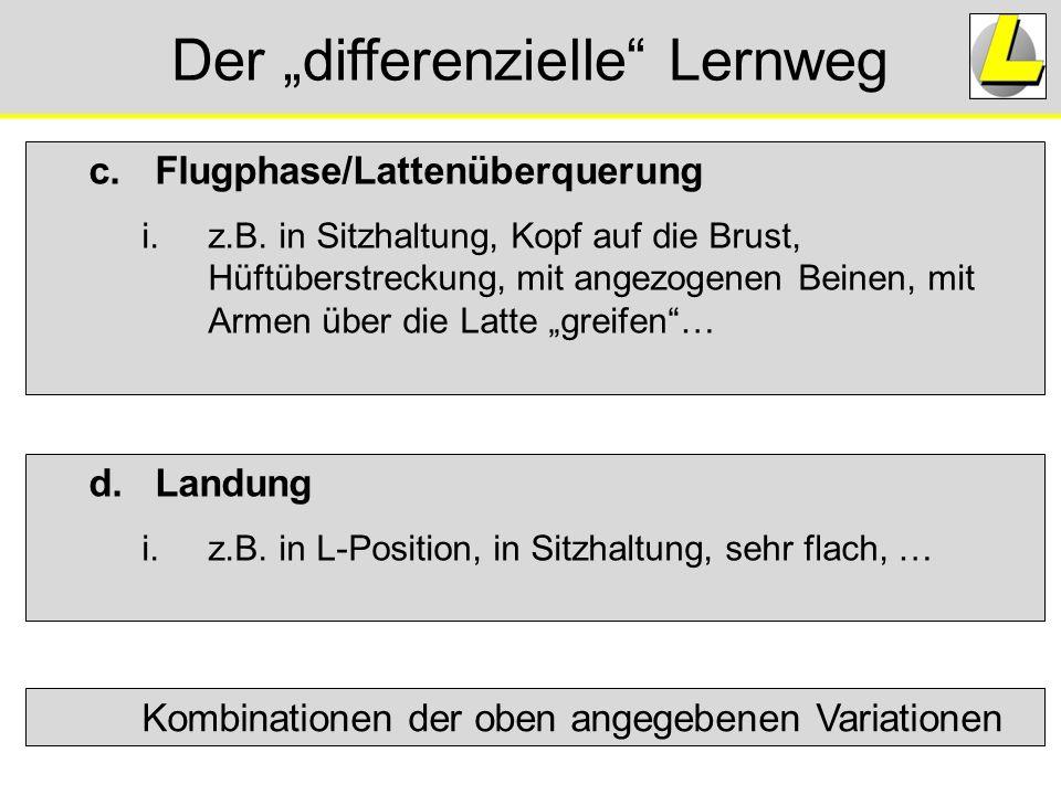 """Der """"differenzielle"""" Lernweg c.Flugphase/Lattenüberquerung i.z.B. in Sitzhaltung, Kopf auf die Brust, Hüftüberstreckung, mit angezogenen Beinen, mit A"""