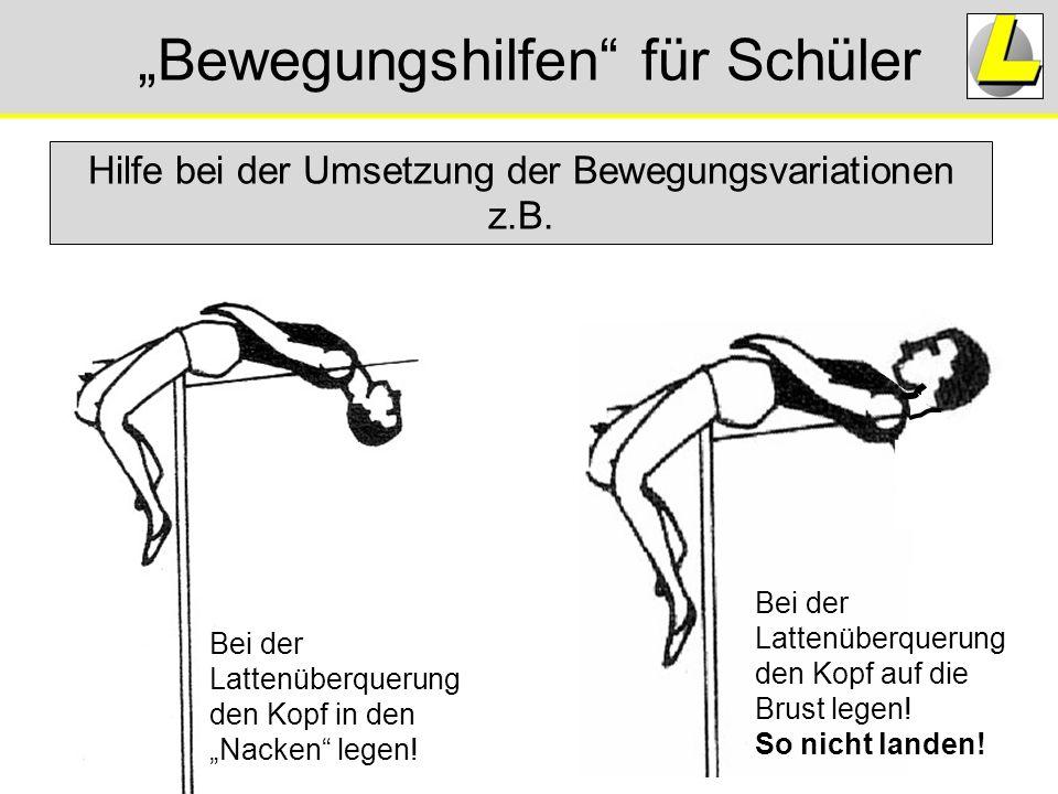 """""""Bewegungshilfen"""" für Schüler Hilfe bei der Umsetzung der Bewegungsvariationen z.B. Bei der Lattenüberquerung den Kopf in den """"Nacken"""" legen! Bei der"""
