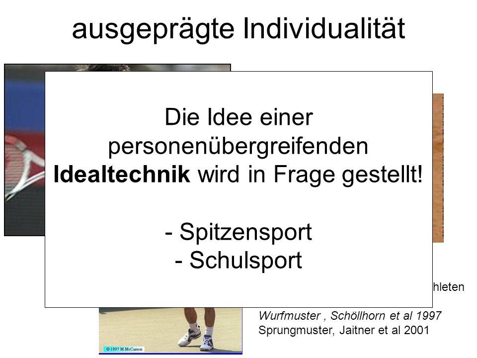 """ausgeprägte Individualität eindeutige """"biomechanische """"Identifizierung von Weltklasseathleten Wurfmuster, Schöllhorn et al 1997 Sprungmuster, Jaitner et al 2001 Die Idee einer personenübergreifenden Idealtechnik wird in Frage gestellt."""
